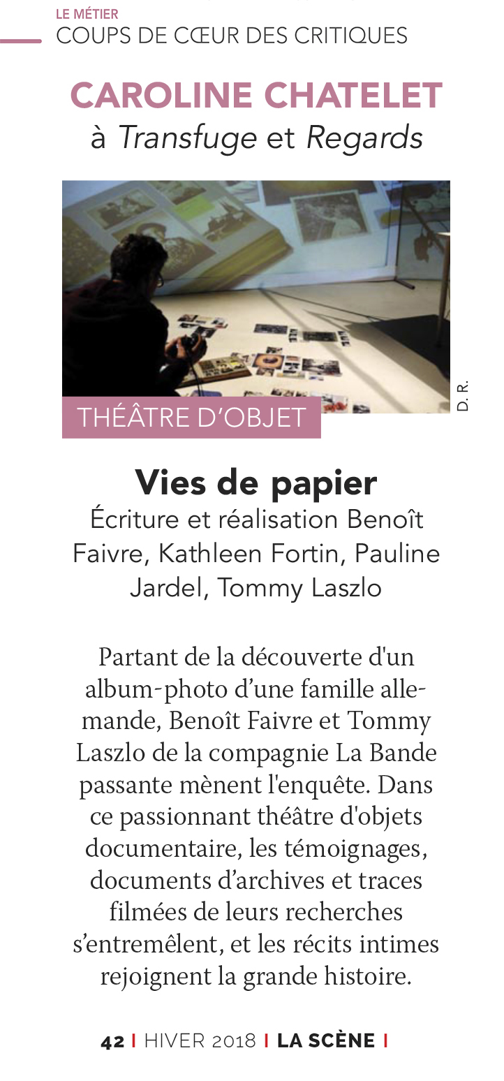 IMG extrait de La Scène Magazine -coup de coeur des critiques - Vies de Papier